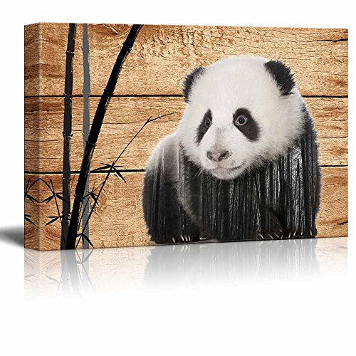 Double Exposure Rustic Giant Panda in the Wild on Vintage Wood Background Wall Decor