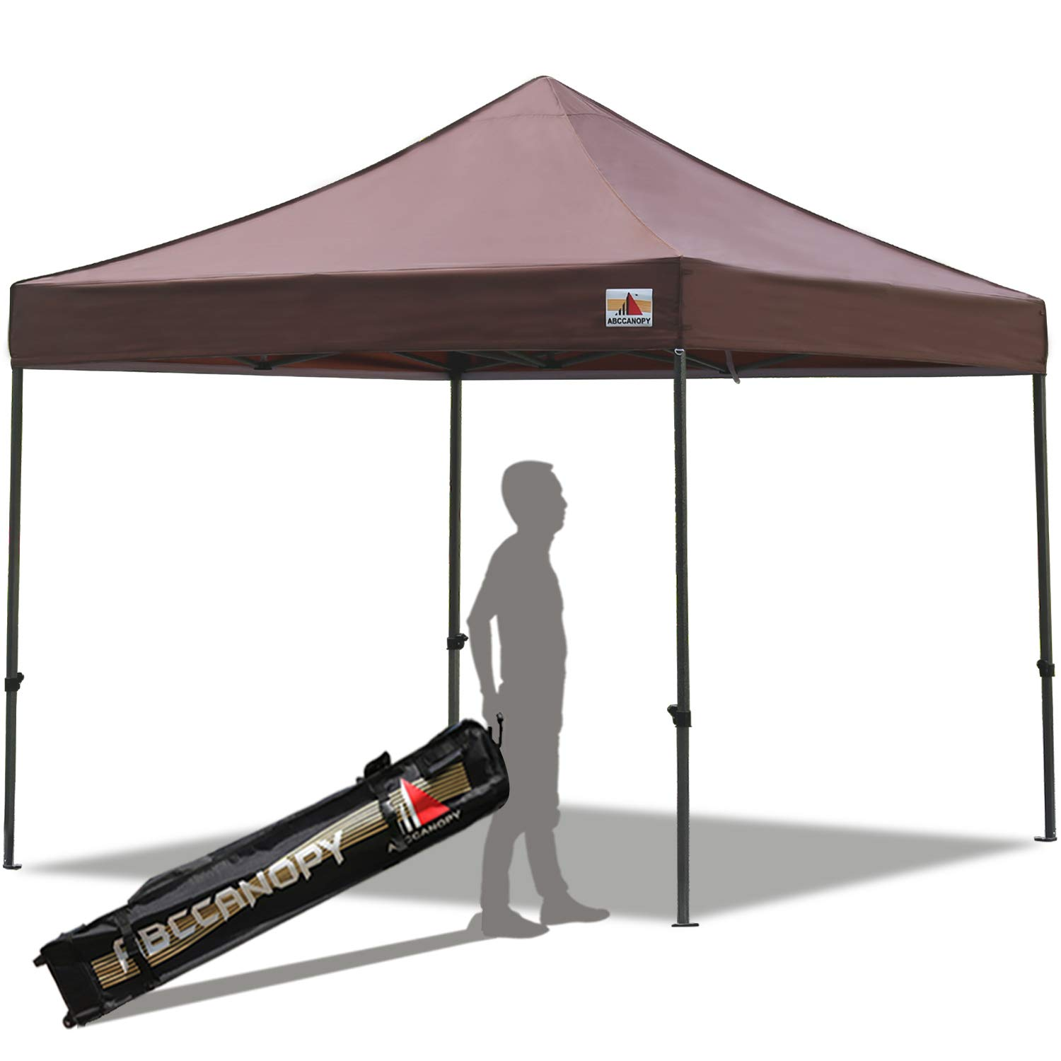 ABCCANOPY Pop up Canopy Tent Commercial Instant Shelter with Wheeled Carry Bag, 10x10 FT Brown