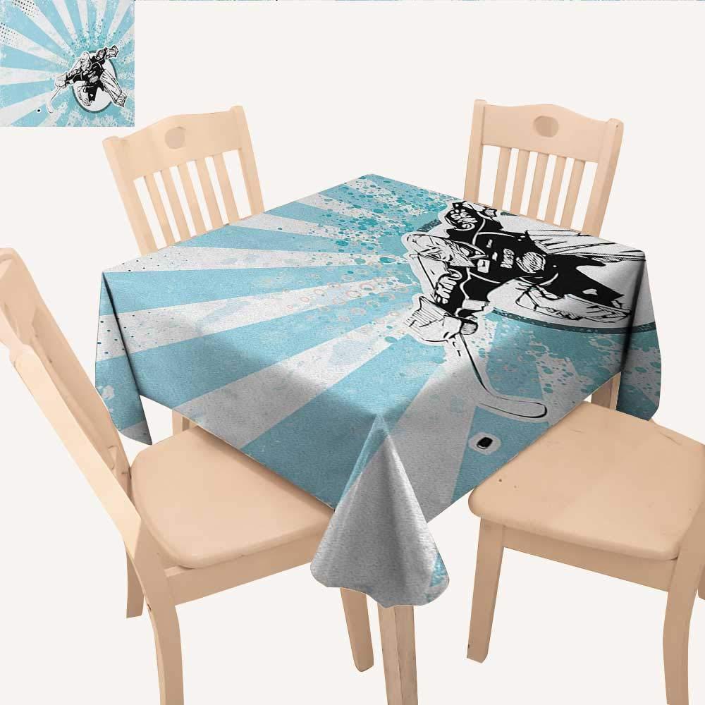 longbuyer ホッケー タッセル テーブルクロス 子供 手描き アクティビティ 小さな子供 スティックとボール付き 晴れた日 防水 テーブルクロス マルチカラー W 70