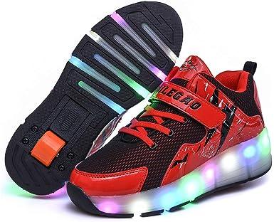 JESU Zapatos LED USB Recargables, Zapatillas Coloridas De Una Doble Rueda, Luminosas Zapatillas De Skateboard, Sneakers Running Shoes Para Unisex Niños Niñas: Amazon.es: Ropa y accesorios