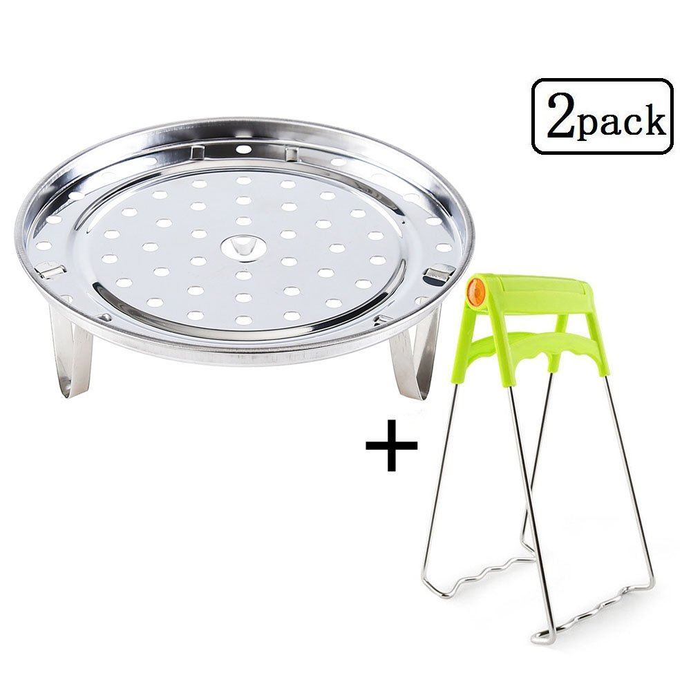 Detachable Steam Basket Rack with Foldable Dish Plate Gripper for Pot Accessories- Fits Pot 5,6,8 qt Electric Pressure Cooker, Stainless Steel
