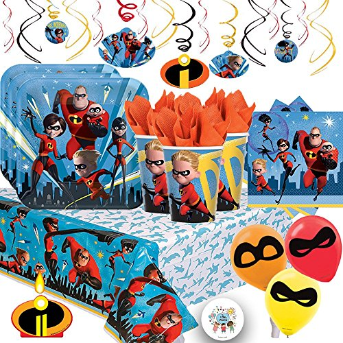Incredibles 2 Mega Deluxe Party Supply Pack with Decorations for 16 Guests Includes Plates, Napkins, Cups, Tablecover, 6 Balloons, Birthday Candle and an Exclusive Life of Party Pin by Another Dream