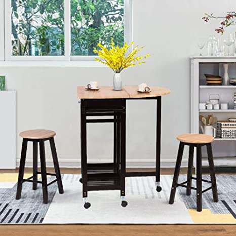 Amazon Com Dining Table Set Waterjoy 3 Pcs Portable Wood Rolling Casters Kitchen Island Cart Rolling Trolley Foldable Bar Table Drop Leaf Dining Countertop Table With 2 Barstool Chairs Storage Drawer