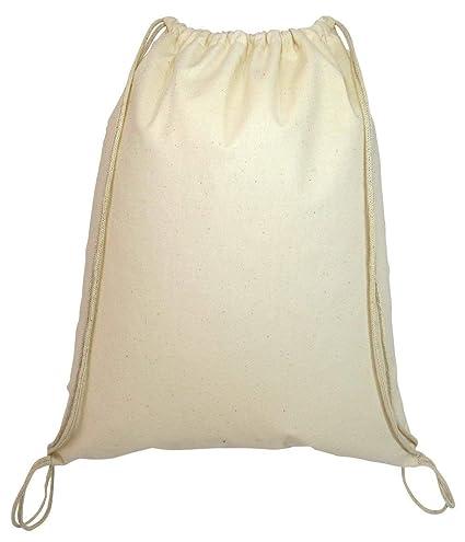 e77267f08 Amazon.com: SHOPINUSA Natural Color 100% Cotton Drawstring Backpacks Small  Size 16