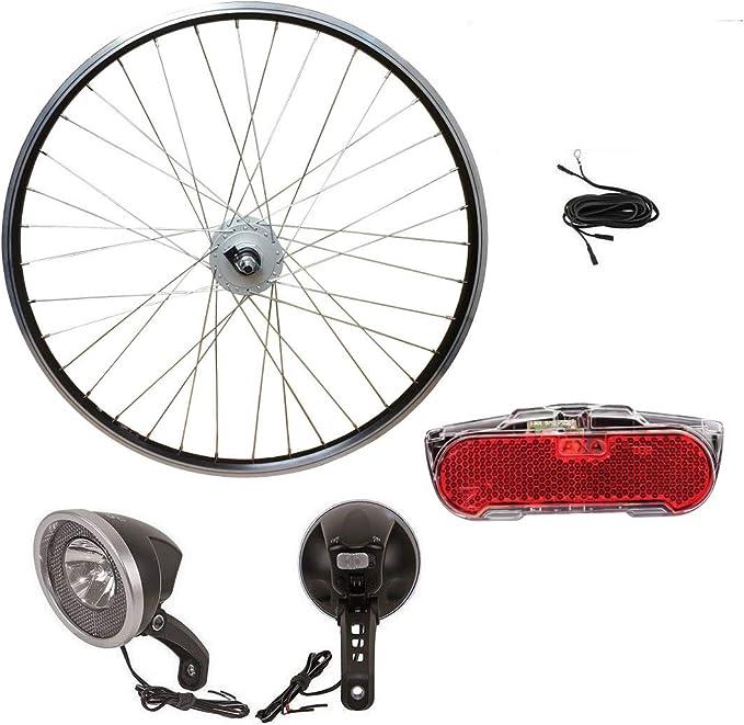 66.04 cm de la rueda delantera de bicicleta Shimano nabendynamo sanimiz con luz delantera, trasera y dinamo cable: Amazon.es: Deportes y aire libre