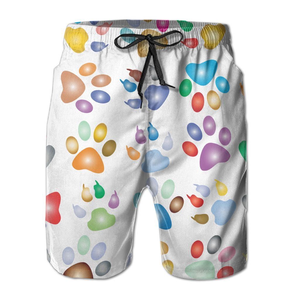 MIPU SHANGMAO Mens Autism Fingerprints Summer Beach Shorts Leisure Quick Dry Swimming Pants