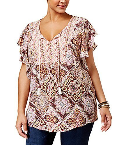 Style & Co. Womens Plus Printed Keyhole Peasant Top Red 1X
