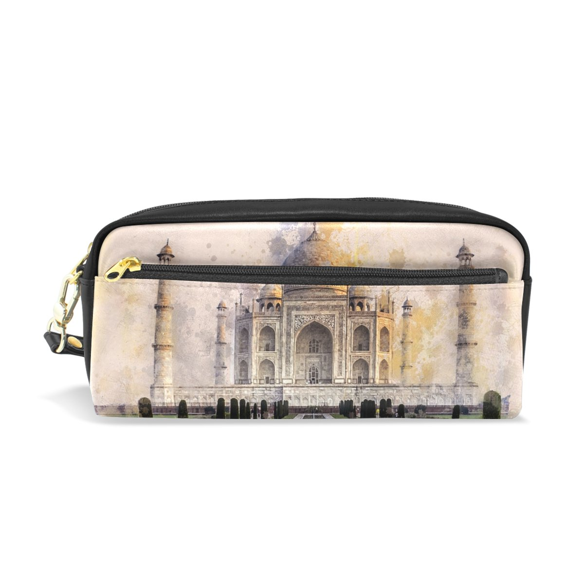 DNOVING Pencil Case Stylish Print Taj Mahal Ivory-White Marble Agra India 17th Art Pattern Large Capacity Pen Bag Makeup Pouch Durable Students Stationery Two Pockets with Double Zipper