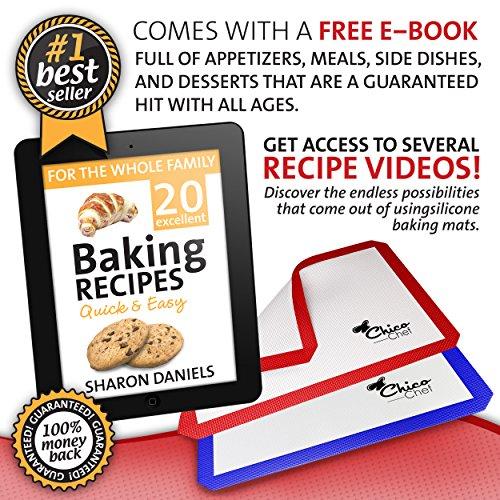 Silicone Baking Mat 2-Pk - Fits Half Sheets - Blue, Red colors - Bonus Cookbook, Lifetime Guarantee