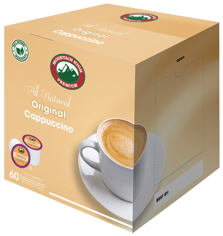 Mountain High All Natural Cappuccino K Cups 2.0 Compatible (Original, 60)