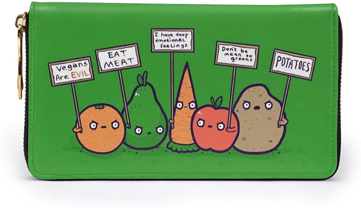 Protesting Vegans Funny Vegetables Womens RFID Blocking Zip Around Wallet Genuine Leather Clutch Long Card Holder Organizer Wallets Large Travel Purse