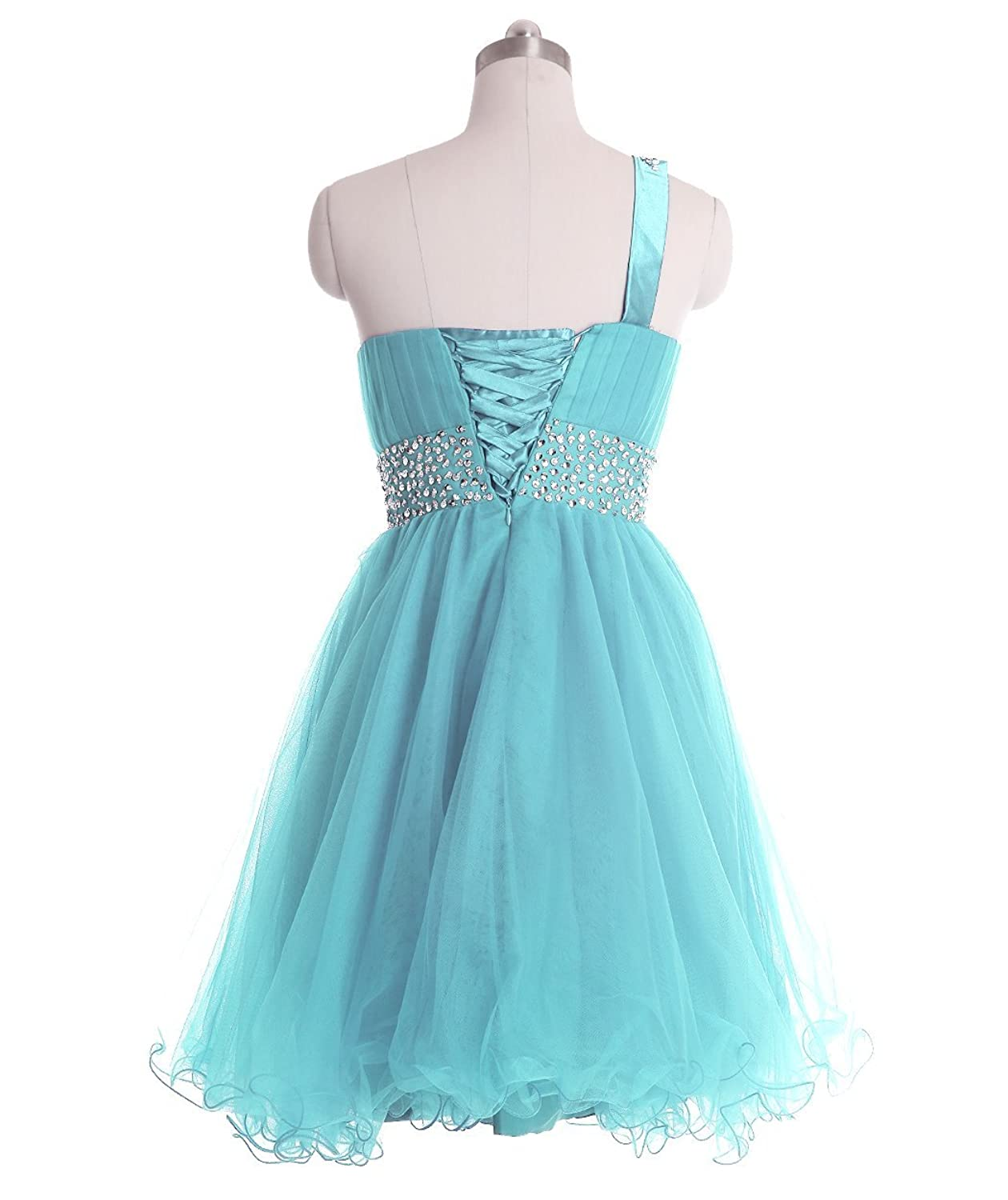 Amazon.com: FAIRY COUPLE One Shoulder Short Homecoming Dress Beaded ...