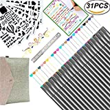 Bullet Journal Supplies 0.38 Fineliner Color Pen Set Fine Point Markers for Calendar Planner, Coloring Book, Sketch, Calligraphy, Art Project (24 Fine Tip Pens & 6 Stencils & 1 Ruler)