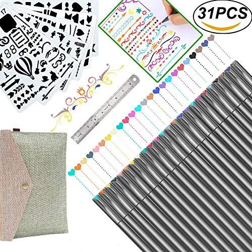 Bullet Journal Supplies 0.38 Fineliner Color Pen Set Fine Point Markers for Calendar Planner, Coloring Book, Sketch, Calligraphy, Art Project (24 Fine Tip Pens & 6 Stencils & 1 Ruler) by URSKYTOUS