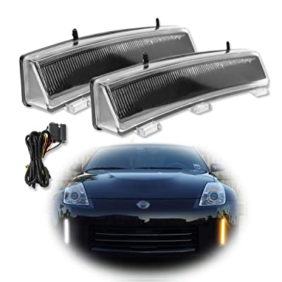 GTINTHEBOX LED Front Bumper Switchback Amber/White Daytime Running Lights with Turn Signal Lamp Kit for 2006-2009 Nissan 350z LCI: Automotive