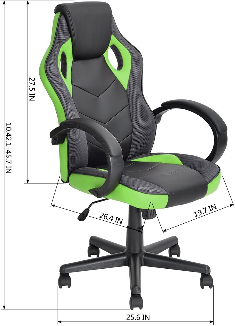 Green HOMYCASA Office Chair Ergonomic Executive Computer Desk Chair Car Game Racing Chair Tilting Function Height Swivel