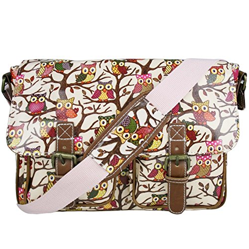 Shoulder Crossbody Fashion® Owl Bag Print Satchel D Messenger Light Pink Bag Oilcloth Designer pwpz8