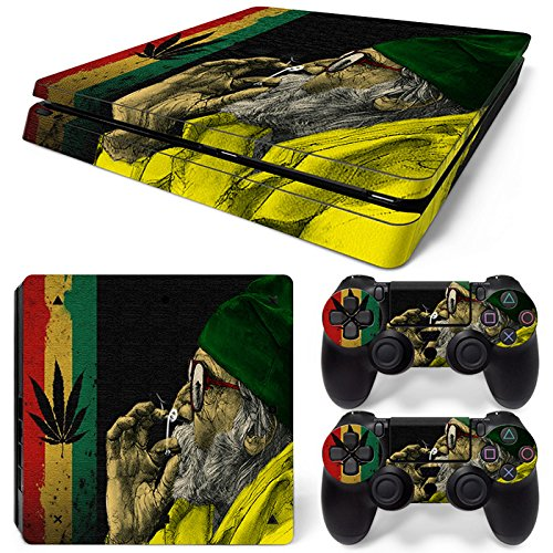 GoldenDeal PS4 Slim Skin and DualShock 4 Skin - Weed 420 - PlayStation 4 Slim Vinyl Sticker for Console and Controller Skin