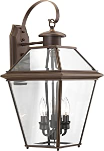 Progress Lighting P6617-20 Burlington Three-Light Large Wall Lantern, Polished Nickel/Delta