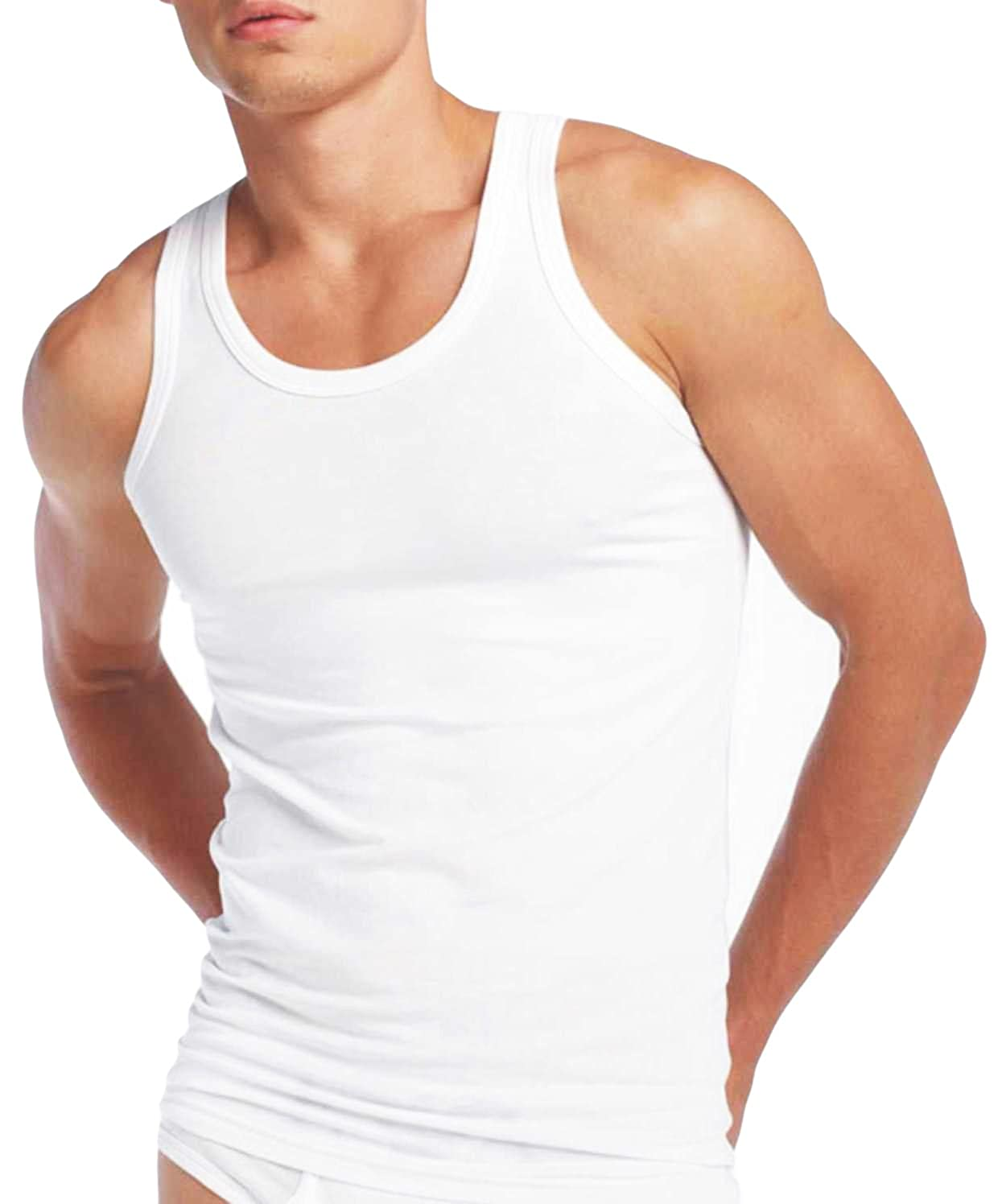 9eeadfb7f420d Mens Fitted Vest 100% Cotton Athletic Muscle Gym White Tank Top PACK OF 3   Amazon.co.uk  Clothing