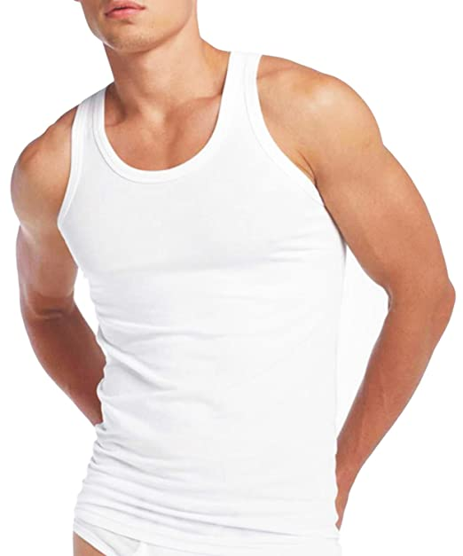 1fb6adfab7a2c8 Mens Fitted Vest 100% Cotton Athletic Muscle Gym White Tank Top PACK OF 3   Amazon.co.uk  Clothing