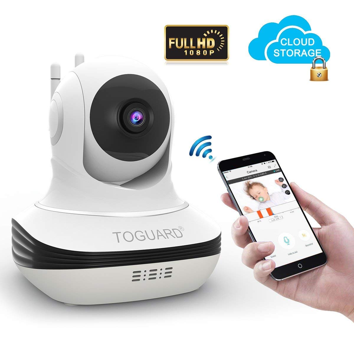 TOGUARD Wireless Security Camera, Cloud Storage Live Steam 1080P WiFi Baby Monitor Home Surveillance IP Camera, Pan/Tilt, Two Way Audio, Night Vision by Android iOS App