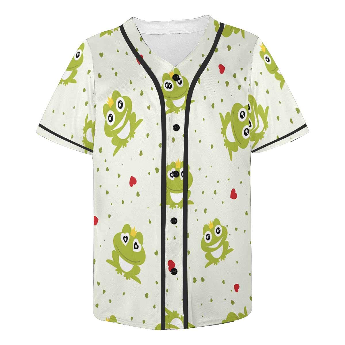 INTERESTPRINT Mens Fashion Baseball Jersey T-Shirt Frog with Crown