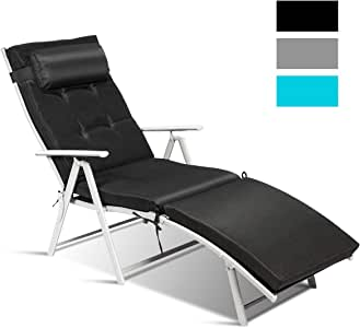 Tangkula Outdoor Folding Chaise Lounge Chair, Lightweight Recliner Chair w/ 7 Adjustable Backrest Positions, Patio Reclining Beach w/Removable Cushion & Pillow for Patio Poolside No Assembly Required