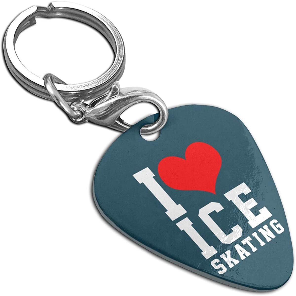I Love Ice Skating Stainless Steel Guitar Pick Necklace Pendant Keychain