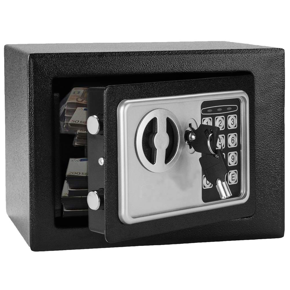 Mini Wall-in Style Electronic Code Metal Steel Box Safe Case 17EF Black