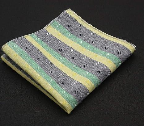 SKYyao Pañuelo de Bolsillo Hombres Bolsillo Toalla Bordado Traje pañuelo Toalla algodón Cuadros Rayas Plaza Toalla