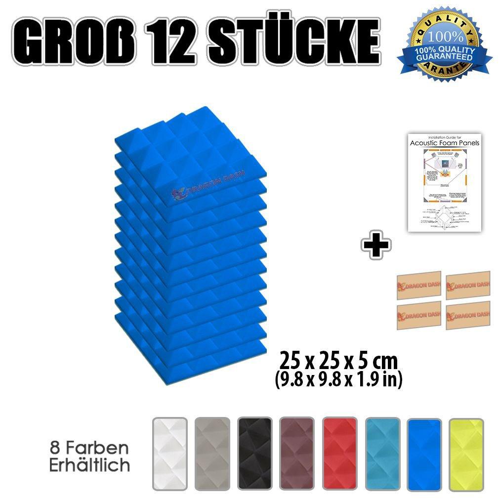 Super Dash (12 Pack) von 25 x 25 X 5 cm Blau Pyramide Akustikschaumstoff Noppenschaumstoff Akustik Dämmmatte Schallisolierung Schaumstoff Polster Fliesen SD1034 (BLAU)