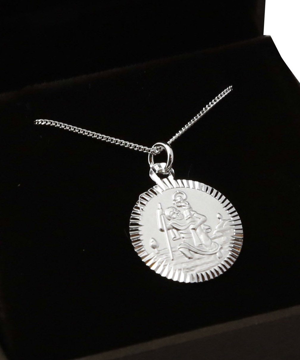 Dainty Sterling Silver Saint Christopher Necklace.Hallmarked 925. Gift for Christening/Confirmation or Leaving Home Silver Basket 375B