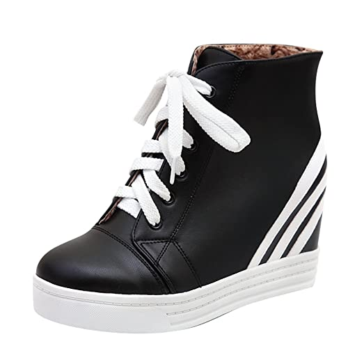 82411c3f127 Amazon.com   Latasa Women's Stripes Lace-up Inside Wedge Ankle Boots ...