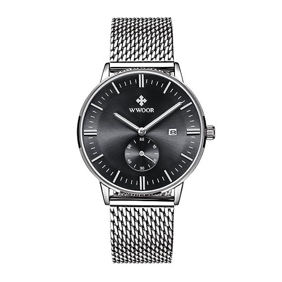 wwoor Mens de lujo banda de malla de acero inoxidable reloj con fecha macho Casual vestido