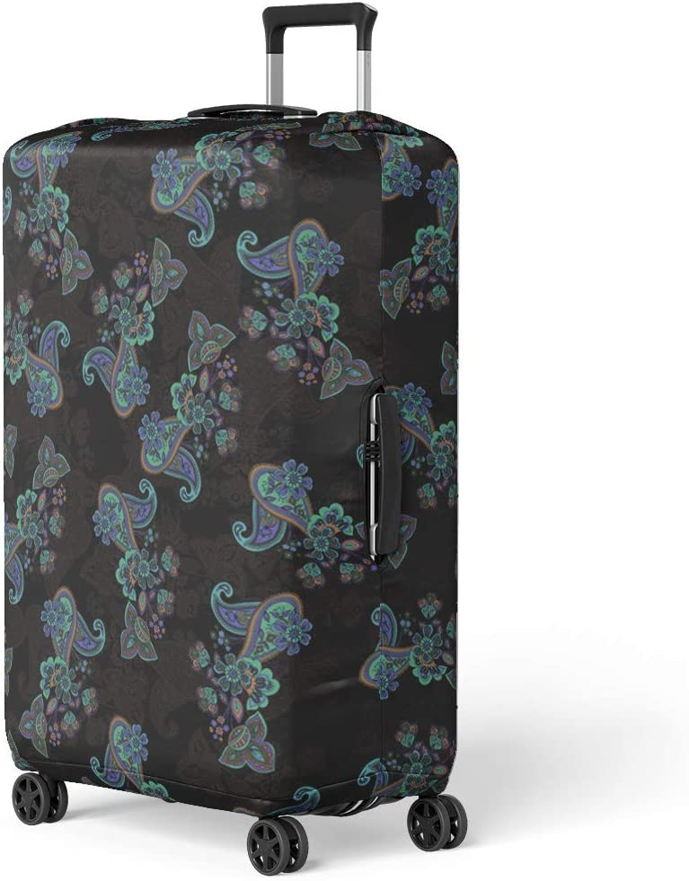 Pinbeam Luggage Cover Vintage Paisley Bandana Silk Neck Scarf Kerchief Pattern Travel Suitcase Cover Protector Baggage Case Fits 22-24 inches