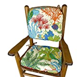 Barnett Products Splish Splash Child Porch Rocker Cushions - Seat Cushion and Back Cushion for Children's Rocking Chair - Latex Foam Fill - Tropical Fish Reversible to Cabana Stripe