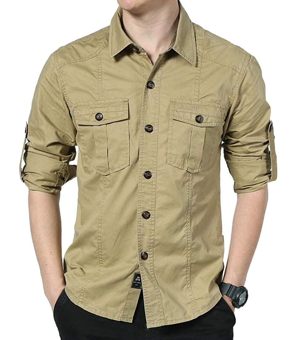 WSPLYSPJY Mens Long Sleeve Button Down Loose Casual Tactical Military Style Shirts