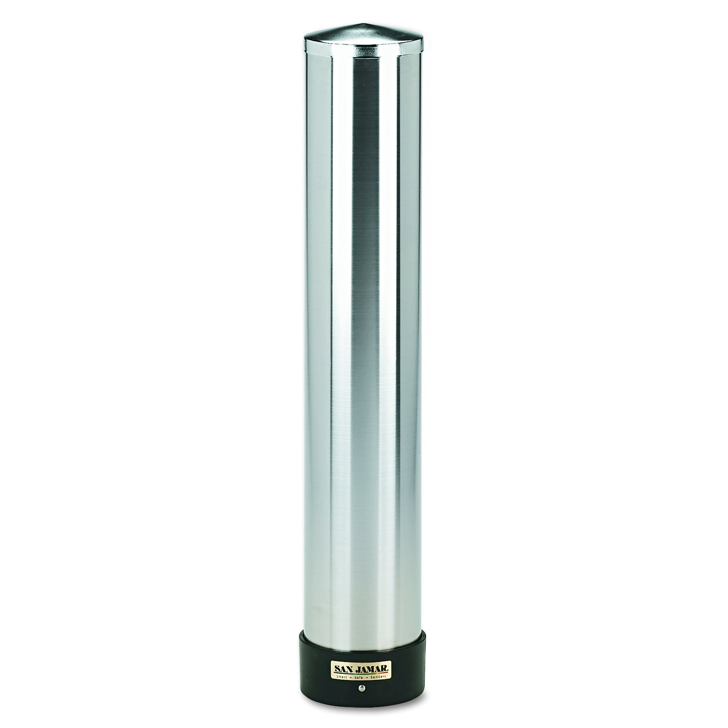 San Jamar C3400P 12-24 oz Stainless Steel Pull Type Beverage Cup Dispenser with Removable Cap