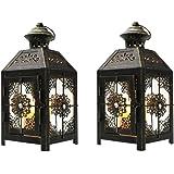 "JHY DESIGN Set of 2 Decorative Candle Lantern 9.5"" High Metal Candle Lantern Vintage Style Hanging Lantern for Wedding…"