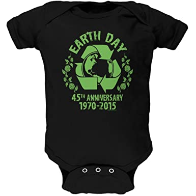 Earth Day 45th Anniversary Black Soft Baby One Piece