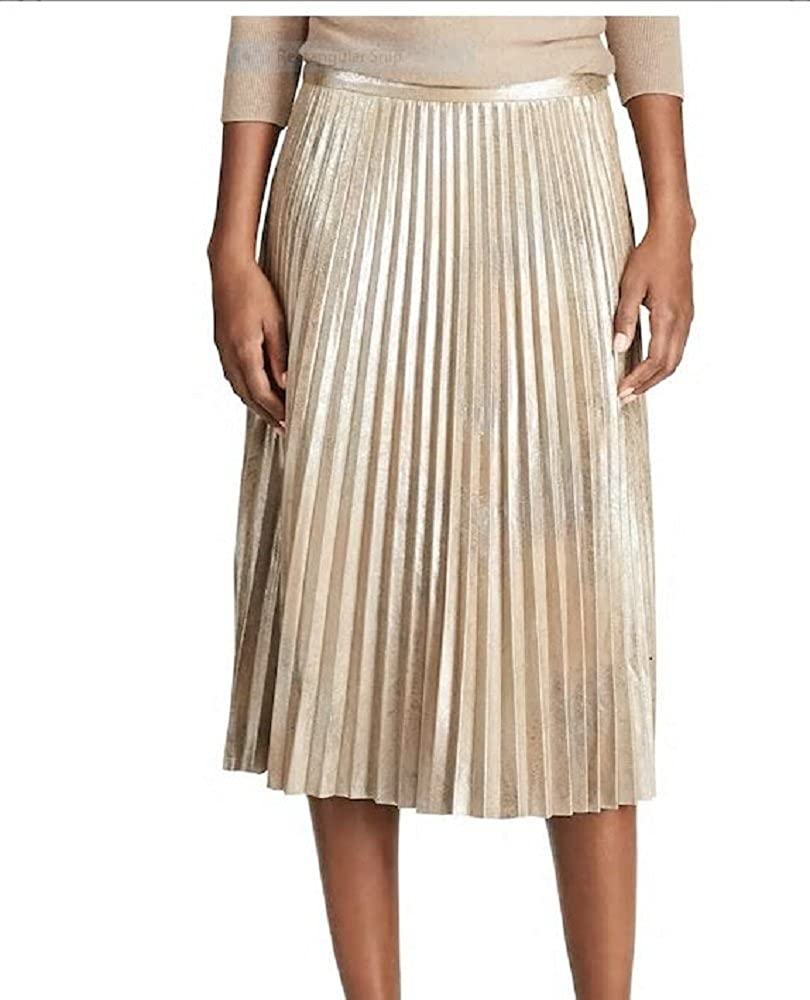 9f06424db Chaps Metallic Gold Faux-Suede Pleated Midi Skirt (16) at Amazon Women's  Clothing store: