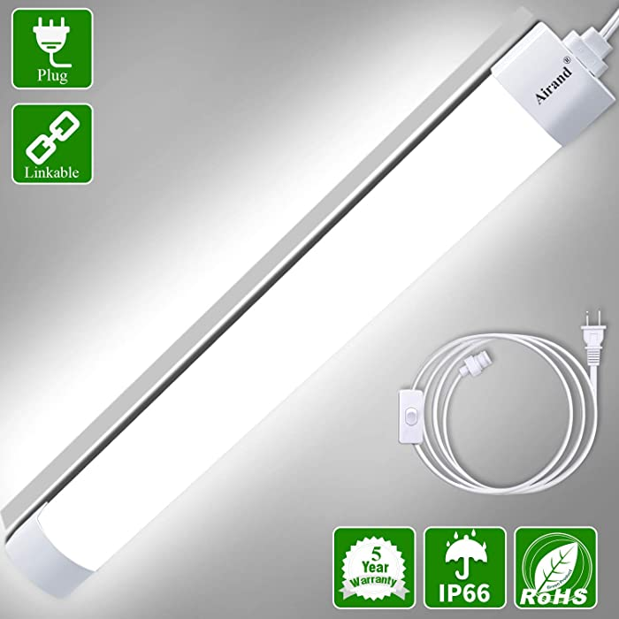 Utility LED Shop Light Fixture 2FT 4FT with Plug, Airand Waterproof Linkable LED Tube Light 5000K Under Cabinet Lighting,1800 LM LED Ceiling and Closet Light 18W, Corded Electric with ON/Off Switch