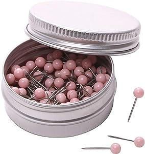 PTC Office 1/8 Inch Diameter Small Decorative Map Tacks Plastic Head Push Pins with Steel Point (Light Pink, 100PCS)
