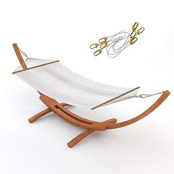 Outdoor Hängematte Im Set Mit Sicherung Und Gestell Madagaskar 400 Cm Braun  | Hängemattengestell Holz Sibirische