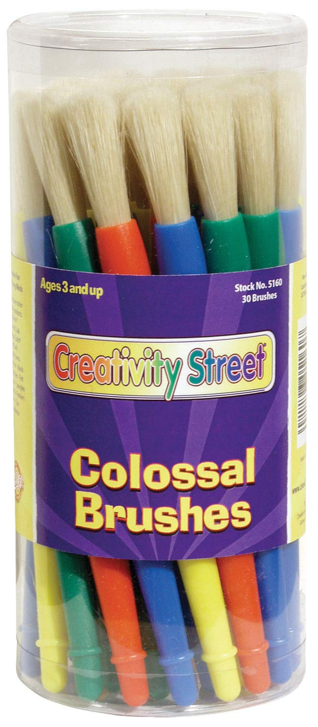 Creativity Street Chubby White Bristle Easy Grip Plastic Handle Paint Brush Set, 1/2 X 7 in, Multiple Color, Set of 30 - 76182 by Creativity Street