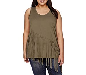 Boutique+ Fringe Moor Green Tank Top Plus Size 2X