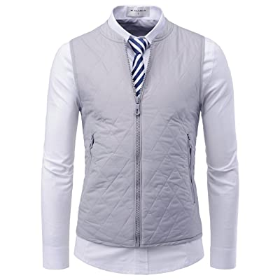 NEARKIN Mens Daily light warmer Quilting Zip-up Slim fit Waistcoat