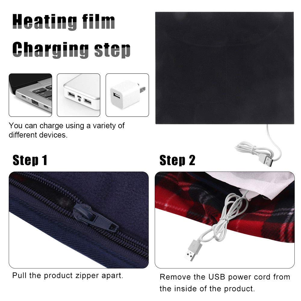 Valentines Best Gift!!!Kacowpper Portable 5V USB Electric Heated Car Office Use Winter Warm Blanket Cover Heater