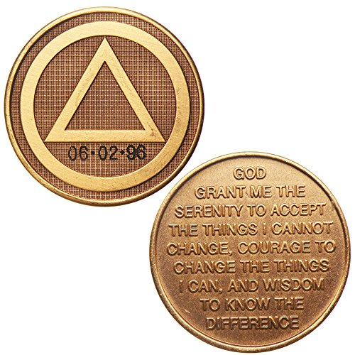 HPRS Personalized Custom Engraved - Circle Triangle - Serenity Prayer - Bronze AA (Alcoholics Anonymous)-ACA-AL-ANON-Sober-Sobriety-Birthday-Anniversary-Recovery-Medallion-Coin-Chip